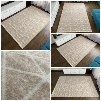 geometryczny dywan kremowy