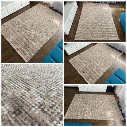 nakrapiany dywan beżowy