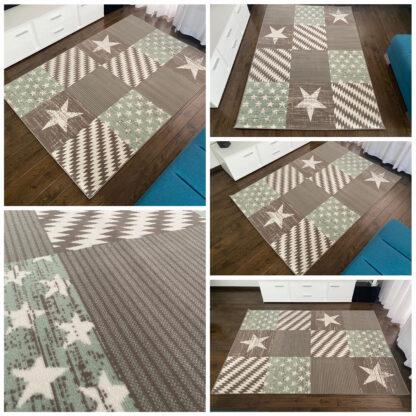 zielony dywan w gwiazdki