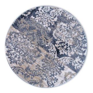 okrągły szary dywan