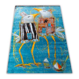 niebieski dywan nowoczesny